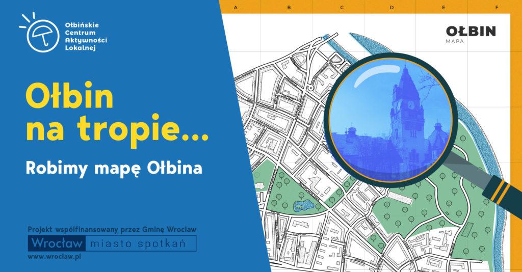 obraz po lewej stronie na niebieskim tle żółty napis ołbin na tropie po prawej fragment mapy oglądany przez szkło powiększające