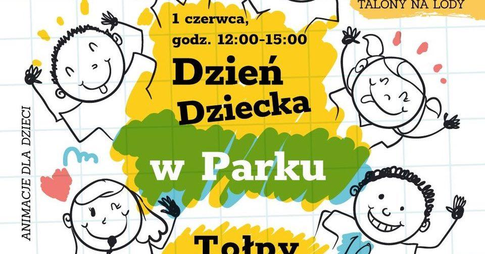 obraz na środku kolor żółty i zielony czarne napisy dzień dziecka w parku tołpy na bokach grafiki różnych postaci talon na lody szczudlarze bańki mydlane gry i zabawy