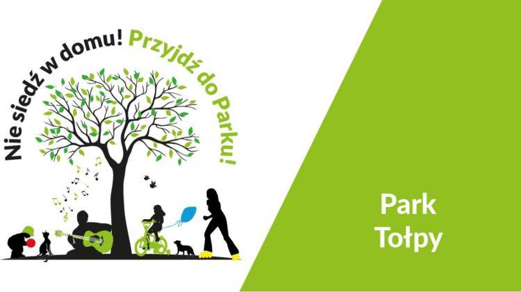 obraz Parki ESK - baner w kolorze oliwkowym z drzewem i sylwetkami ludzi oraz napisem.