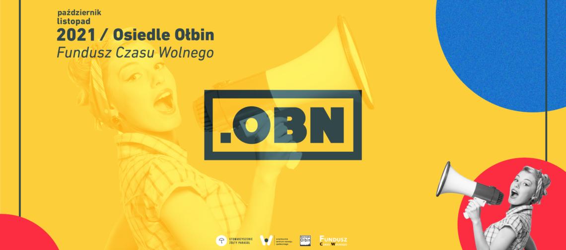 obraz ciemno żółte tło w środku czarny napis OBN po prawej postać z megafonem
